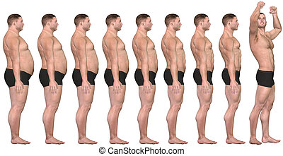 脂肪, フィットするために, 前に, 後で, 3d, 人, 減量, 成功