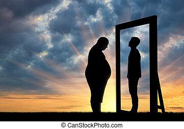 脂肪, 悲しい, 人, そして, 彼の, 反射, 中に, ∥, 鏡, の, a, 正常, 人, に対して, sky.