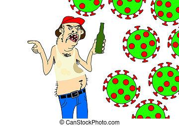脂肪, 無知である, redneck, coronavirus, イラスト