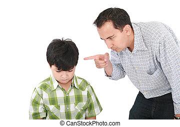 脅すこと, わずかしか, 父, 指, 男の子, 彼の