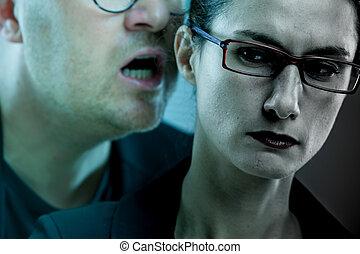 脅す, harassments, woman:, 人, 仕事場