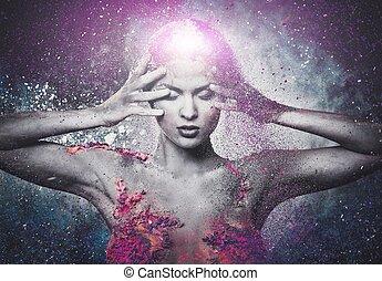 脆弱, ......的, a, 人類, 生物, 概念性, 身體藝術, 上, a, 婦女