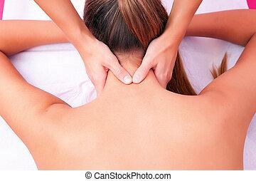 脊柱, マニュアル, 子宮頸管の, 療法, mobilization