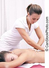 脊柱, マニュアル, 療法, osteopathic, 腰の