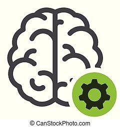脑子, 概念, 齿轮, 图标