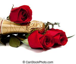 脖子, 在中, a, 香槟酒瓶子, 带, 红的玫瑰花, 在怀特上