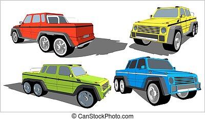 脱开, 轮子, 六, 卡车, 道路
