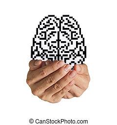 脳, アイコン, ピクセル, 印
