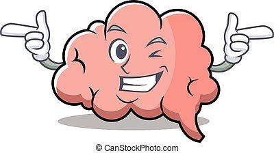 脳, ウインク, 特徴, 漫画, マスコット