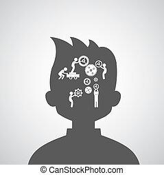 脳, シンボル, ギヤ