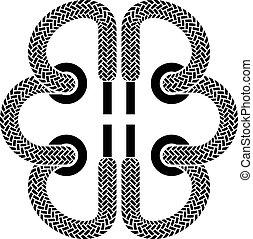 脳, シンボル, ベクトル, 靴の レース