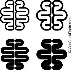 脳, シンボル, 黒, 人間