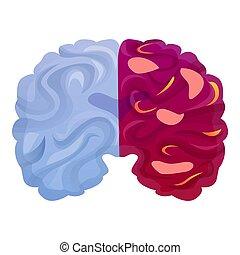 脳, スタイル, 病気, 漫画, アイコン