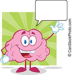 脳, スピーチ泡, 幸せ