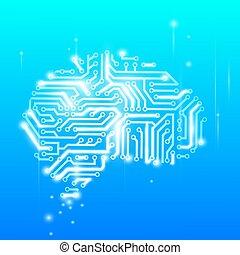脳, チップ, コンピュータ, 人間