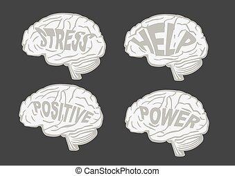脳, ベクトル, メッセージ, 人間, イラスト