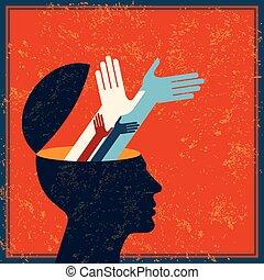 脳, レトロ, 人間, 考え