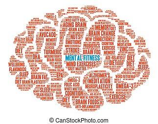 脳, 単語, 精神, 雲, フィットネス