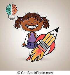 脳, 女の子, 考え