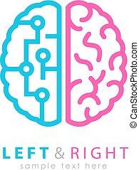 脳, 左, アイコン, 権利, 相違