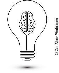 脳, 抽象的, ライト, アウトライン, 電球