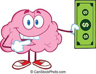 脳, 提示, 手形, ドル