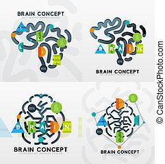 脳, 最小である, 線, スタイル, infographic, 旗, デザイン