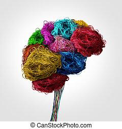 脳, 概念, もつれさせる, 人間