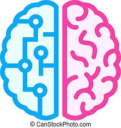 脳, 相違, 権利, アイコン, 左