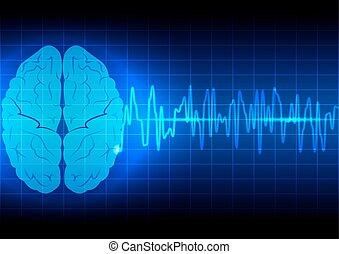 脳, 背景, 抽象的, 技術, 青い波, 概念