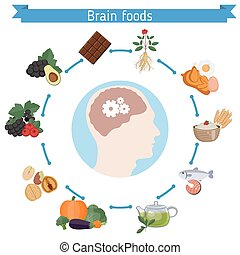 脳, 食物, infographics