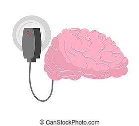 脳, brain., 充満, 人間, 充電器