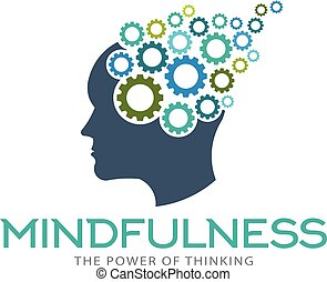 脳, mindfulness, イラスト, 想像力, ベクトル, ロゴ