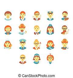 脸人们, 在中, 不同, professions., 矢量, 描述, 放置