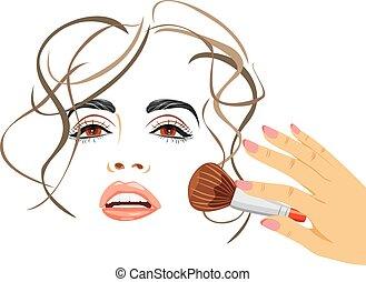 脸红, 运用, 刷子, makeup.