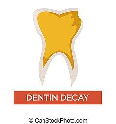 腐食, 歯医者の, 隔離された, dentin, 歯科医術, 薬, 心配