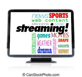 腕時計, ストリーミング, hdtv, 内容, テレビ, プログラム