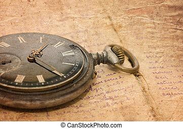腕時計, テキスト, ノート, 古い