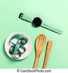 腕時計, テープ, 食事, 木製である, cultery, スポーツ, ミント, バックグラウンド。, プレート, 測定, 概念