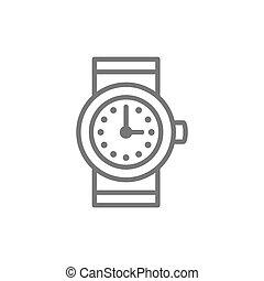 腕時計, 線, icon., 時計
