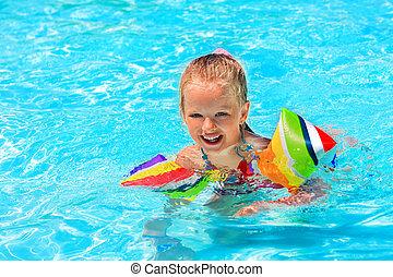 腕章, 水泳, pool., 子供