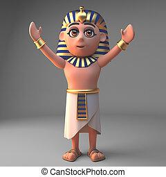 腕, ファラオ, 漫画, tutankhamun, イラスト, 上げられた, 特徴, 3d
