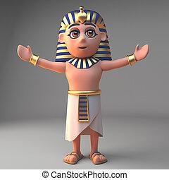 腕, ファラオ, 漫画, tutankhamun, イラスト, 伸ばしている, 特徴, 3d