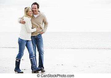 腕, 歩くこと, 浜, 恋人, 微笑