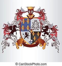 腕, heraldic, コート, デザイン