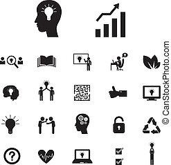 腦子, 以及, 燈泡, 光, 創造性, 想法, 集合