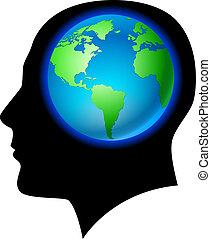 腦子, 陸地, 人