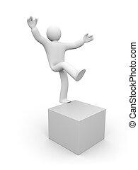 腿, 一, 平衡, 小的人, 3d