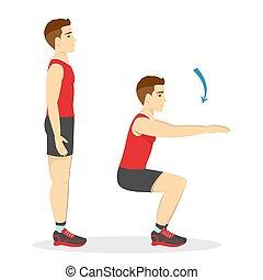 腿, squats., butt., 做, 測驗, 練習, 人