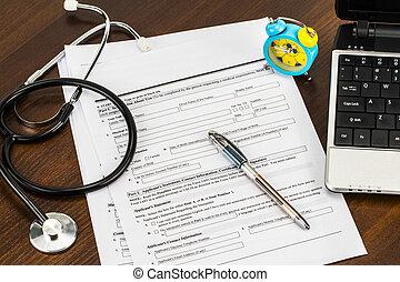 膝上型, 以及, 聽診器, 以及, 醫學的記錄, 醫學的概念